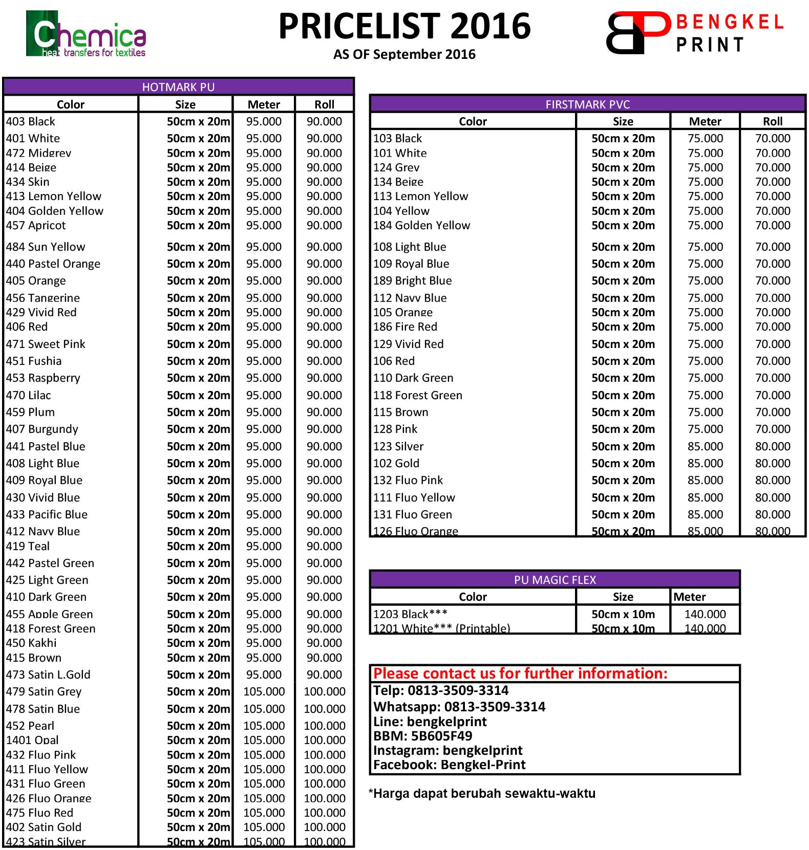 Pricelist Chemica 2016